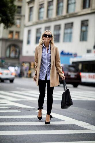 coat camel coat tumblr camel denim jeans black jeans pumps pointed toe pumps shirt blue shirt