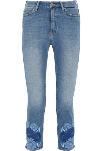 jeans skinny jeans denim embroidered cropped