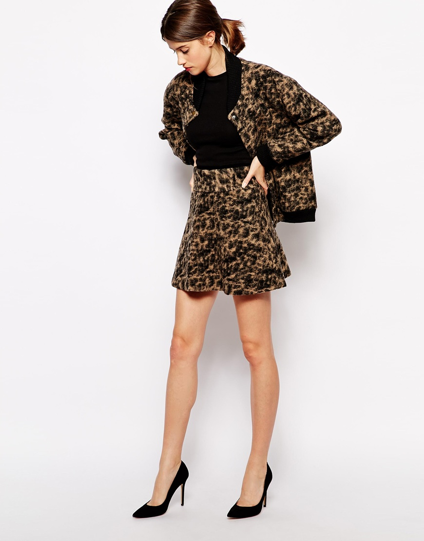 Ganni Co-ord in Leopard Print Boiled Wool at asos.com