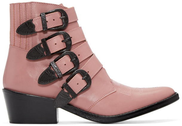 Toga Pulla boots buckle boots pink shoes