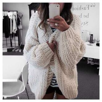 beige nude cardigan oversized cardigan stripes striped top tumblr white cardigan