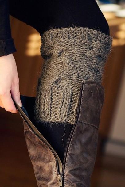 underwear grey knit leg warmers mini leggings socks shoes