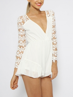 Choies design limited white angel romper playsuit with lace sleeves