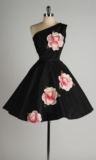 dress black dress short flower dress date dress elegant dress one shoulder