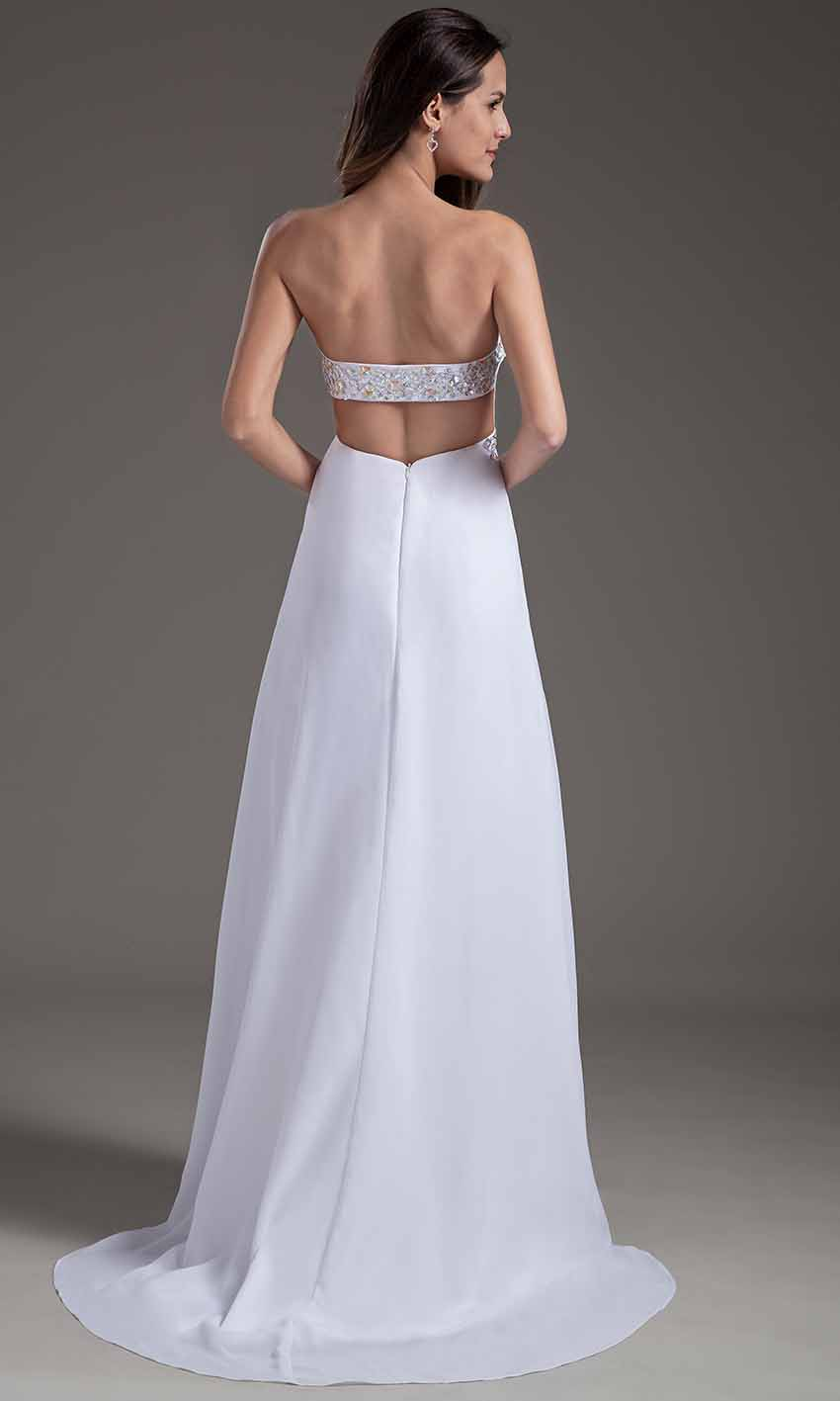 Open Back White Strapless Sequin Prom Dresses KSP355 [KSP355 ...