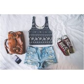 shirt,crop tops,black,white,pattern,dress,shoes,shorts,bag,tank top,tribal pattern,black and white,tumblr,ootd,blouse,leither bag,cute,high waisted,acid wash,cut,top,clothes,converse,iphone cover,tumblr clothes,celebrity,denim,summer,summer outfits,flowers,washed out,faded,brown bag,aztec,aztec crop top,denim shorts,brown,old,old school,school bag,t-shirt,outfit,blue top,print,camel,camel bag,vintage,skirt