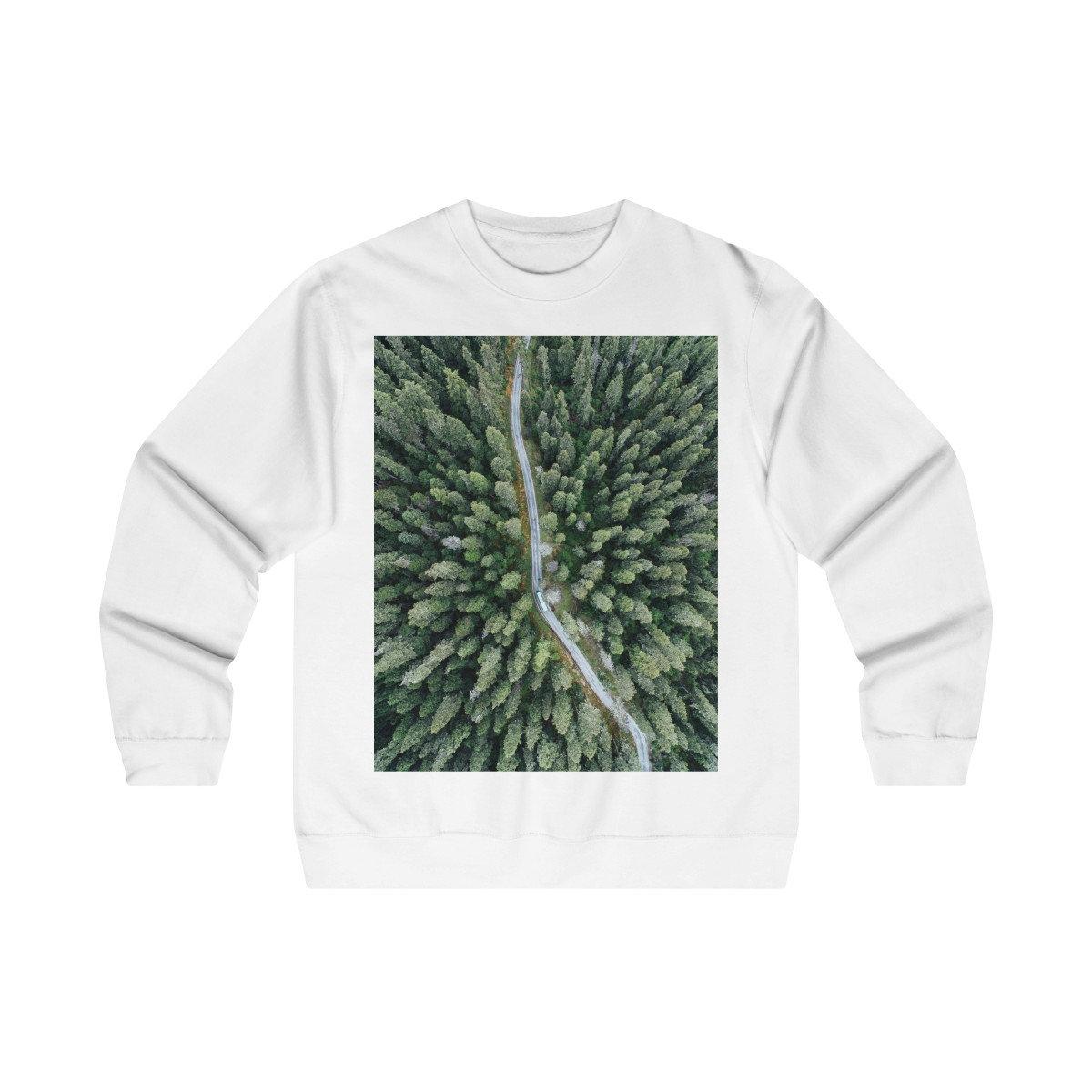 Unisex Sweatshirt Aerial photography print forest road