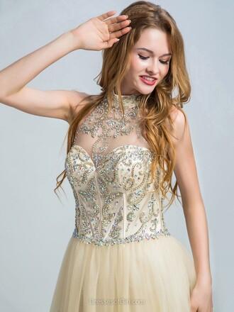 dress nude prom classy elegant gown sparkle formal dressofgirl