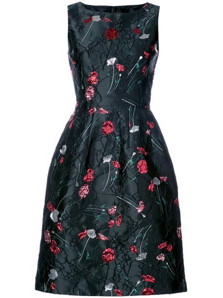 oscar de la renta dress women floral black silk