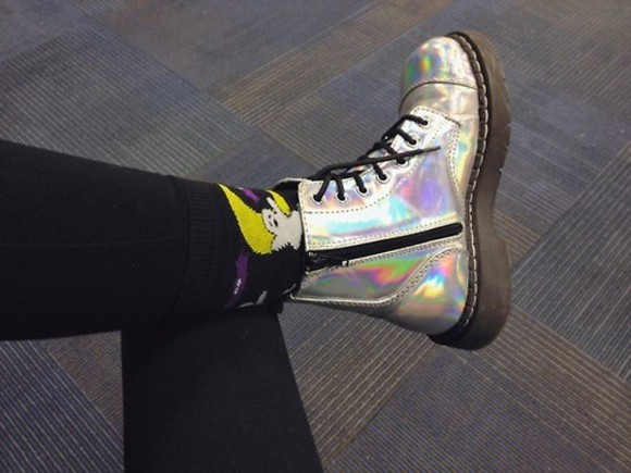 shoes cute wow boots ankle boots DrMartens DrMartens holographic alien et harajuku kawaii alternative grunge soft grunge emo punk punk rock punk pop ghosts silver silver boots DrMartens rainbow hipster rock goth hipster lovely adorable tumblr tumblr fashion weird unique omg omfg socks cute boots zippers colorful rock n roll shitload of tags B-) i rllly want them....