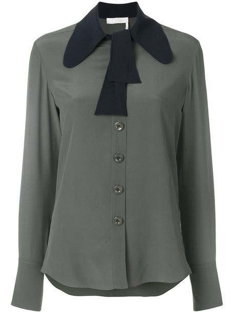 Chloe blouse women silk green top