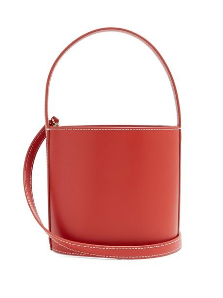 Staud bag bucket bag leather red