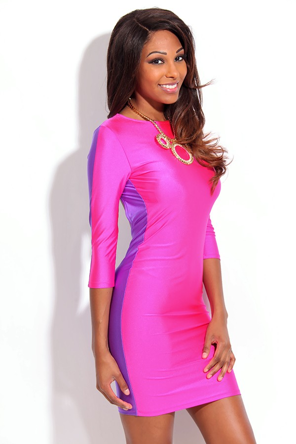 Pink Party Dress - Pink and Purple Two Tone | UsTrendy