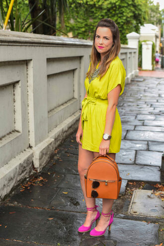 live more beautifully blogger romper jewels shoes sunglasses yellow dress statement necklace mini dress backpack pink heels lace up heels necklace pink shoes