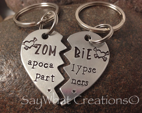 Zombie Apocalypse Partners SET OF TWO Half by SayWhatCreations