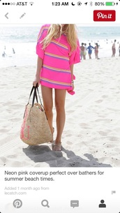swimwear,pink stripe cover up