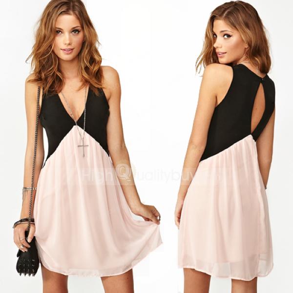 Occidental Hit Color Stitching V-neck Sleeveless Chiffon Vest Dress - $26.24