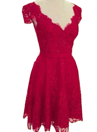 Party wear v neck backless laced dresses red