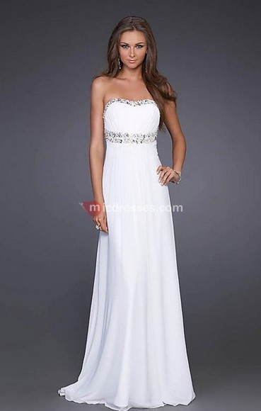 chiffon beading a-line empire strapless ruched