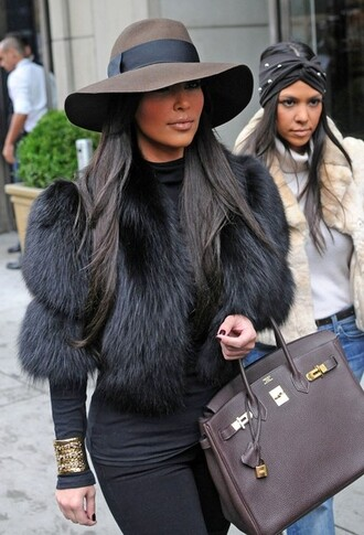 black fur coat kim kardashian jewels black fur jacket