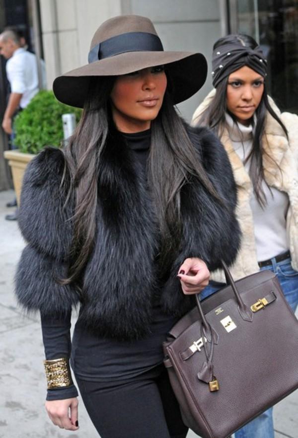 black fur coat kim kardashian jewels black fur jacket