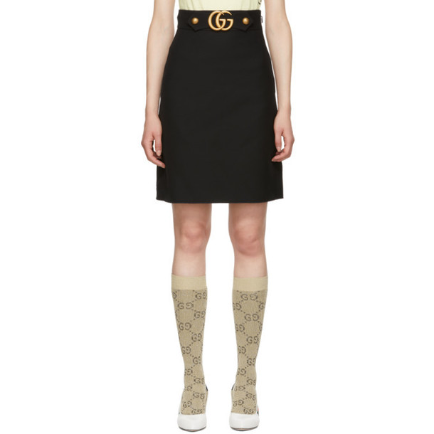 Gucci Black Wool GG A-Line Skirt