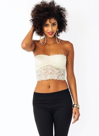 shirt crop tops lace tube top half top