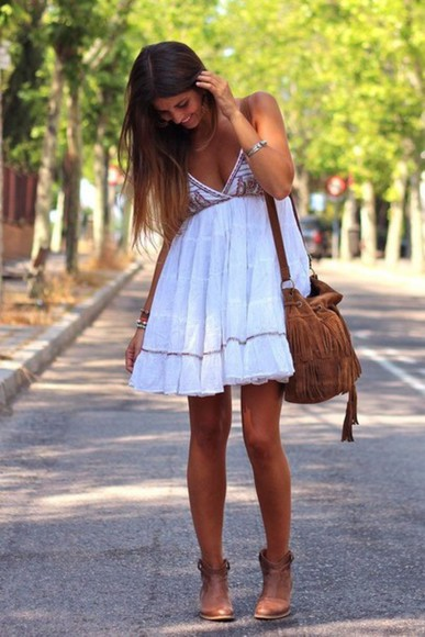 dress white short dress bag white dress indie hippie hipster