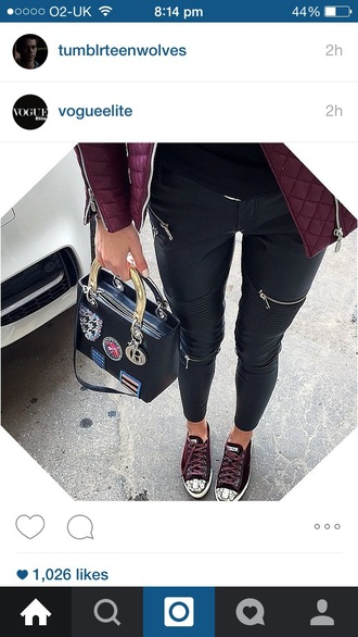 jeans black leather zips