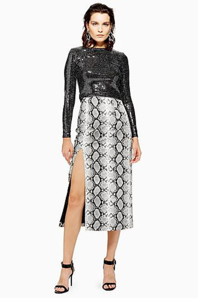 TopShop Snake Print Leather Look Pencil Skirt - Monochrome