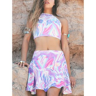 dress holographic crop tops crop kawaii kawaii grunge high neck sexy cue holographic top hippie pastel goth rose wholesale