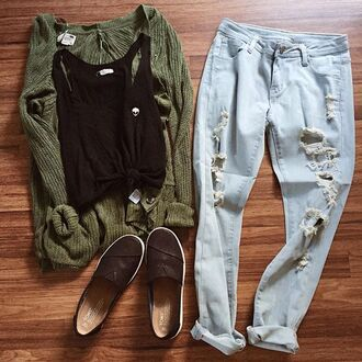top brandy melville crop tops ripped jeans cardigan black shoes jeans boyfriend jeans green sweater brown shoes black top sweater