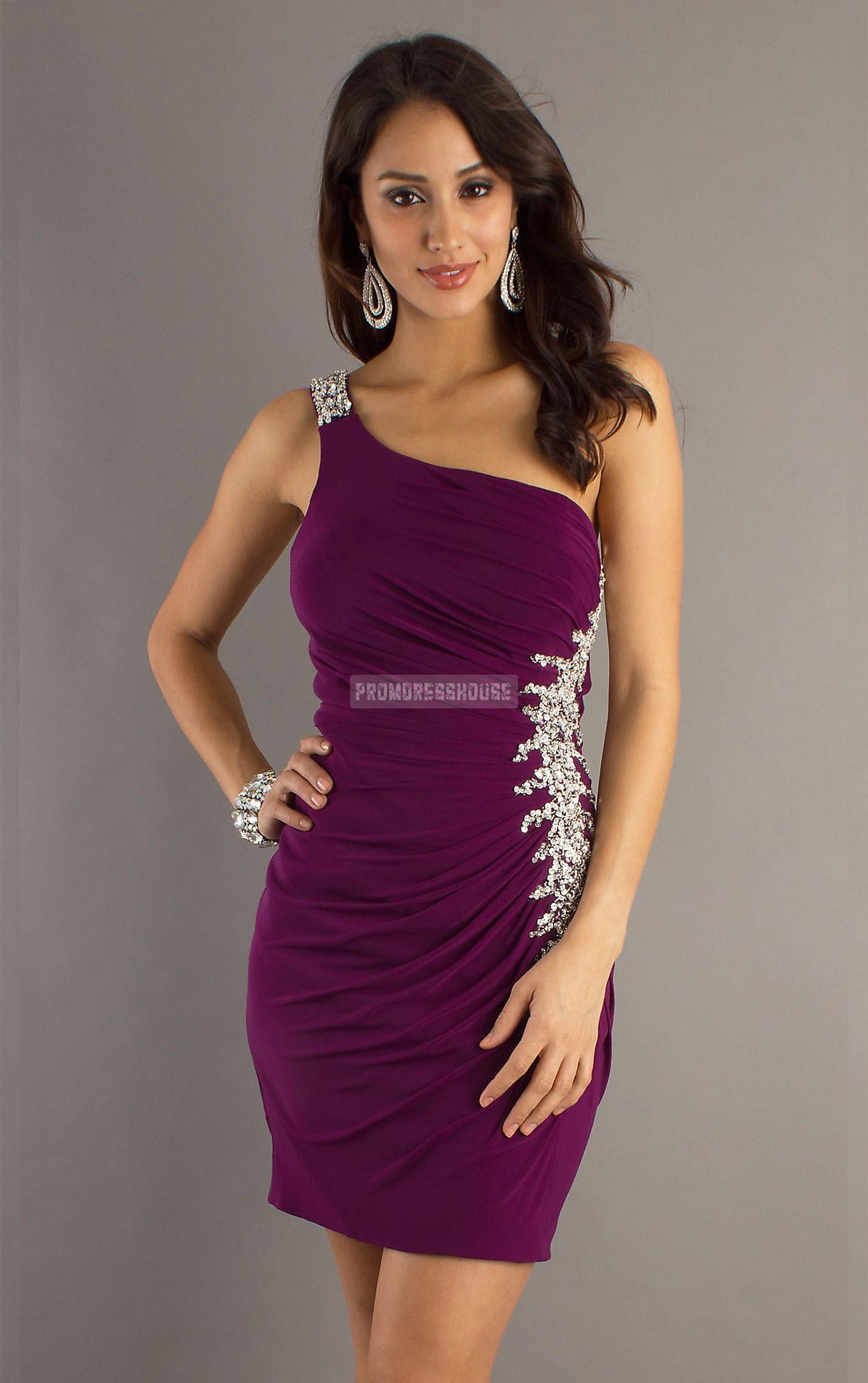 Column Chiffon Grape Beading Applique Short Length Prom Dress - Promdresshouse.com