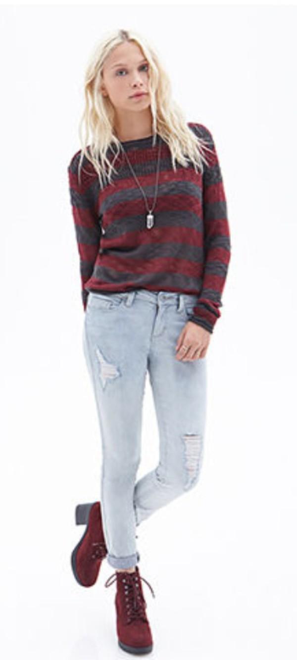 jeans heels denim blonde hair necklace jumper shoes sweater