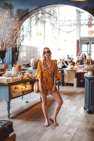 yael steren blogger romper bag jewels shoes sunglasses make-up sandals round bag summer outfits