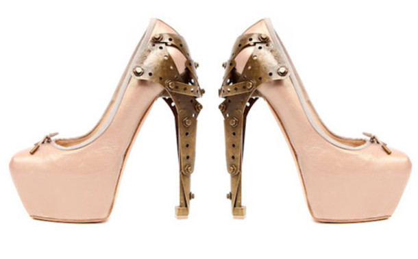 pumps pink ballerina alexander mcqueen metal heel high heels pink shoes brown shoes shoes