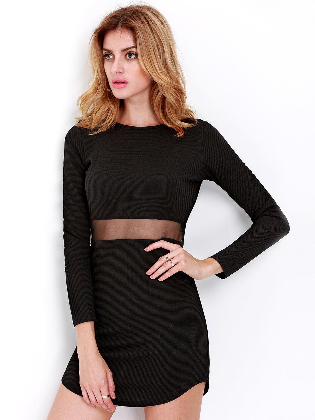 Long Sleeve Slim Bodycon Dress -SheIn(Sheinside)