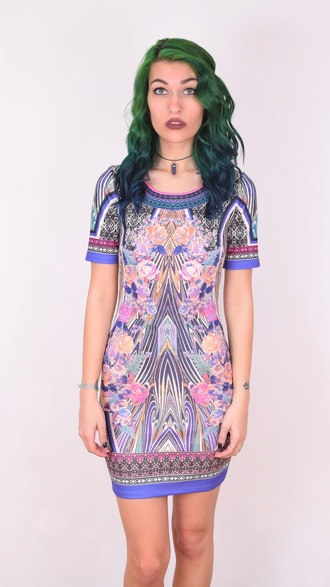 dress shoplibrett pink pattern design spring summer kaleidoscope print kaleidoscope dress short sleeve tshirt dress bodycon dress colorful dress