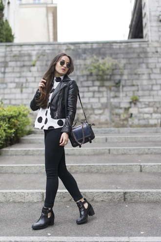 blaastyle blogger shirt black jeans polka dots perfecto cut out ankle boots round sunglasses shoulder bag