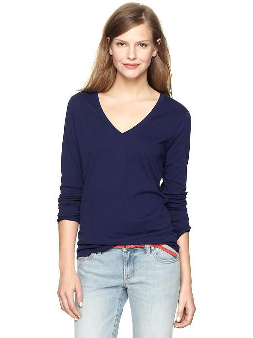 gap essential long sleeve v neck t - navy