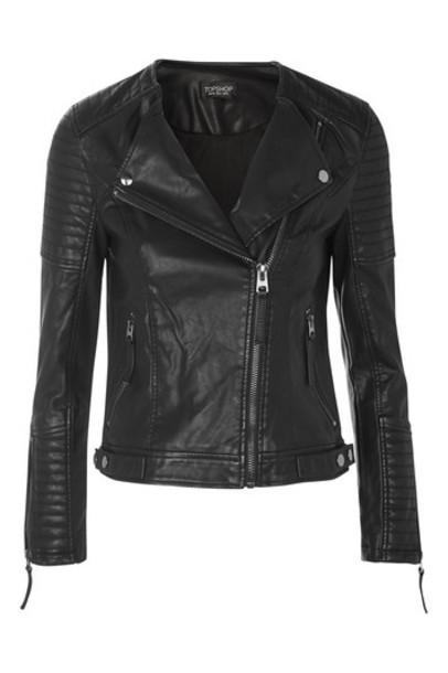 Topshop jacket biker jacket quilted leather black