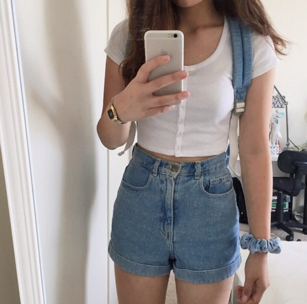 High Waisted Jeans And Crop Top Tumblr pants, tumblr aestheti...