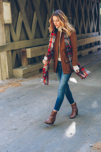 prosecco and plaid blogger jacket sweater scarf shoes jeans jewels fall outfits blanket scarf