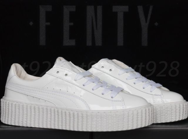 purchase cheap 800b5 6f725 Mens White Puma Fenty by Rihanna Creeper Leather Sneakers