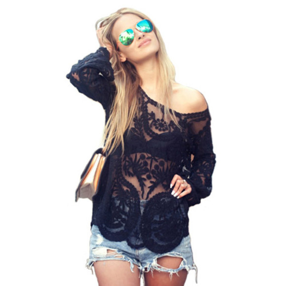 dentelle t-shirt blouse boho sexy summer outfits sunglasses