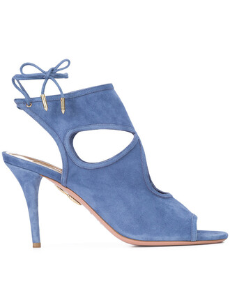 sexy women sandals leather blue suede shoes