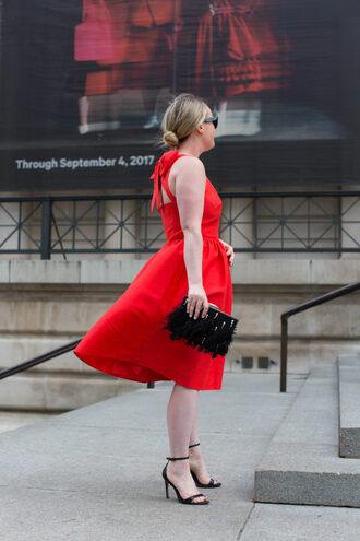 wit&whimsy blogger dress bag red dress clutch sandal heels high heel sandals sandals