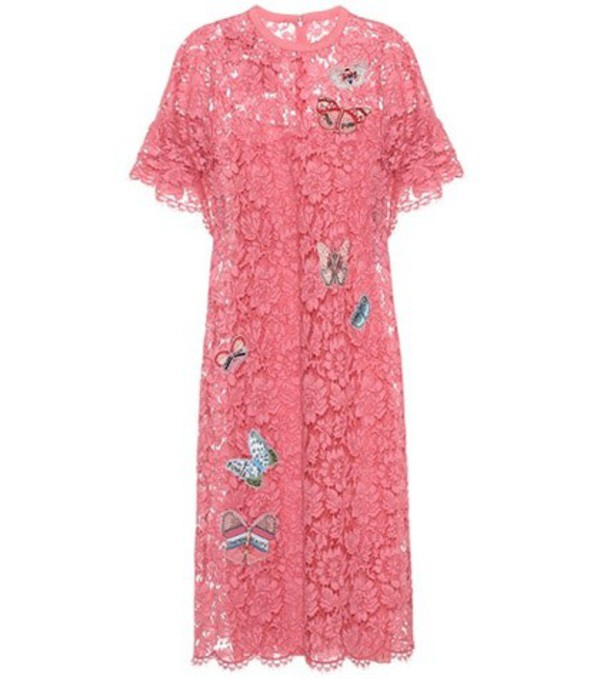 Valentino Embellished lace dress in pink