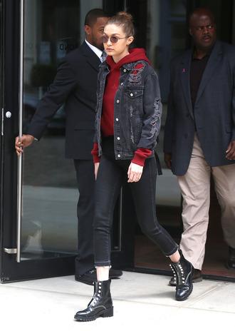 jacket denim jacket hoodie gigi hadid streetstyle boots jeans sweater