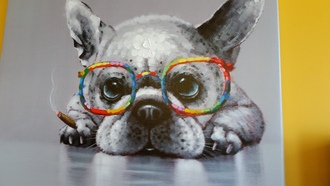 home accessory picture dog glasses rainbow color poster
